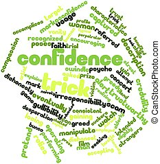 Confidence trick - Abstract word cloud for Confidence trick...