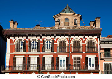 Houses in the square of the castle, Pamplona, Navarra, Spain