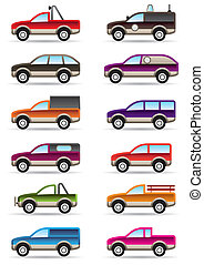 Different off road and SUV cars  - vector illustration
