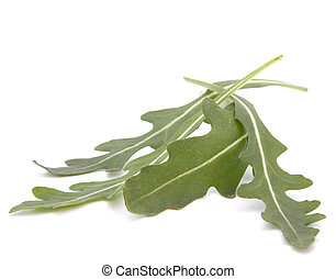 Sweet rucola salad or rocket lettuce leaves isolated on...