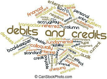 Debits and credits - Abstract word cloud for Debits and...
