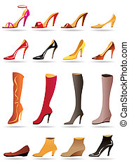 Ladies slippers, shoes and boots - vector illustration