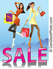 Fashion girls in sale campaign - vector illustration
