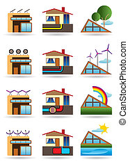 Green building with energy sources - vector illustration