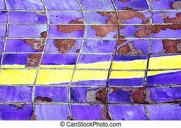 Purple tiles broken with yelow line