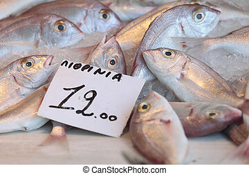 Fish at Aegina market - Fish, labelled Lithrinia, on sale in...
