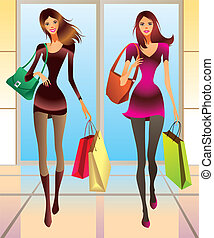 Fashion girls with new purchases - vector illustration