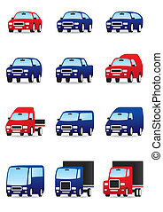 Private and public transport icons set - vector illustration