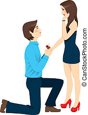 Engagement Proposal Surprise - Young man proposing marriage...