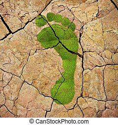 Ecological footprint - Illustration with a green footprint...