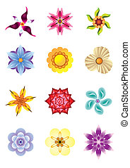 Colourful flower icons set