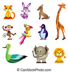 Wild animals toys - vector illustration