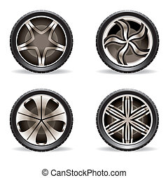 Aluminum rims set - vector illustration