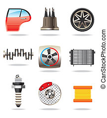 Car parts and symbols - vector illustration