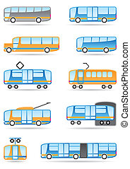 Public transport icons set - vector illustration