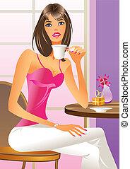 Fashion girl drinking a coffee