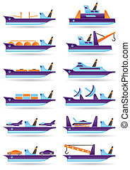 Different cargo ships icons set - vector illustration