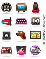 Cars tuning accessories - vector illustration