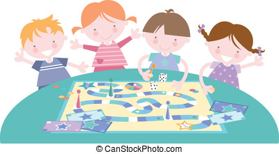 Kids Playing Traditional Board Game - Fun illustration of...