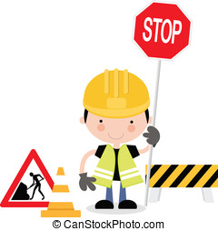 Roadworks guy holding sign - Workman character holding stop...