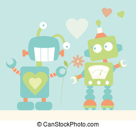 Cute Robots in Love - Two fun robot characters- The male...