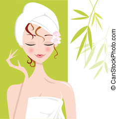 Spa Girl relaxing with Towel Wrap - Pretty woman relaxing in...