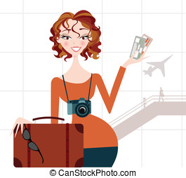 Woman going on Vacation- Airport - Pretty female traveller...
