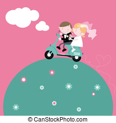 Bride and Groom on Scooter - Fun illustration of cute bride...