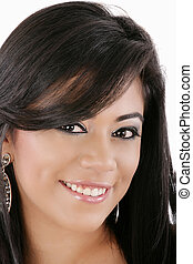 Beautiful young woman face. Close up.