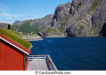 Traditional norwegian fishing house - Traditional red...