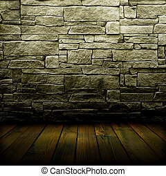 old wall and floor. There is an empty seat for design