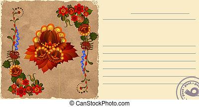 Vintage postcard with floral patterns. eps10