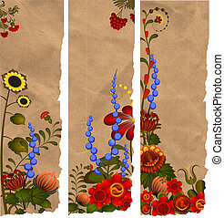 A set of paper bookmarks with traditional Ukrainian designs....