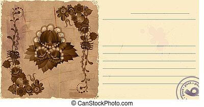 Vintage postcard with floewrs. eps10