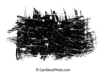 black spot grunge, drawn with a brush on a white
