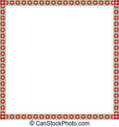 Square frame with elements of national Ukrainian embroidery. eps10