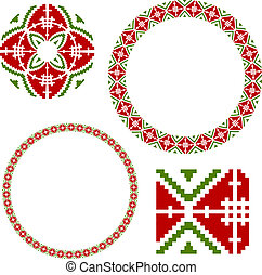 Frame with elements of national Ukrainian embroidery. eps10