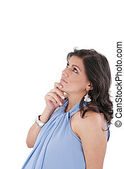 pregnant woman thinks about something