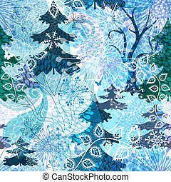 Winter repeating pattern - Winter seamless pattern with...
