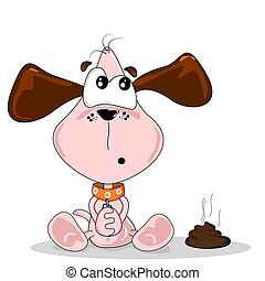 Cartoon dog and poo - Cartoon dog sitting next to a pile of...