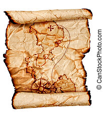 old treasure map, isolated on white