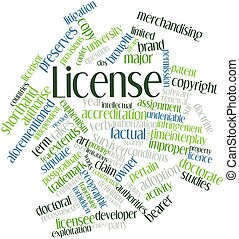 License - Abstract word cloud for License with related tags...