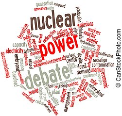 Nuclear power debate - Abstract word cloud for Nuclear power...