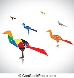 Abstract illustration of a many colorful birds together. The graphic contains birds assembled by joining different body parts(blocks) colored with different bright colors