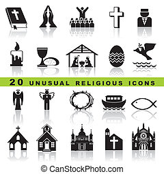 set christian icons - set vector icons of christian religion...