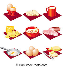 breakfast food - set  vector icons of eating breakfast