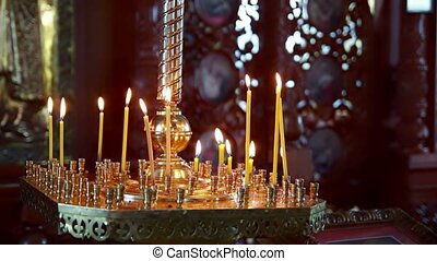 Wax candles in the orthodox church
