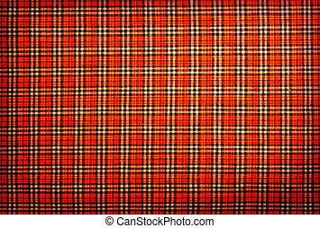 plaid fabric red, orange, black, white, background