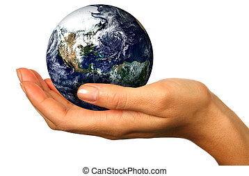 Our Future is in Our Hands - Human Hand Holding the World in...