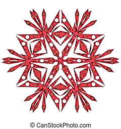 Red snowflake - One red snowflake close up isolated on white...